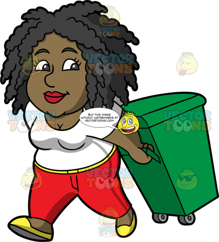 Lisa Taking A Garbage Bin Out To The Curb. A black woman wearing red pants, a white t-shirt, and yellow shoes, walking a green bin on wheels out to the curb