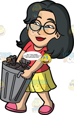 Lynn Taking Out The Trash. An Asian woman wearing a yellow skirt, a red t-shirt, pink shoes, and eyeglasses, carrying a metal trash can filled with garbage bags