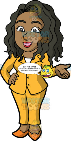Maggie Talking With A Coworker. A black business woman wearing a mustard yellow pant suit, and orange shoes, standing with one hand on her hip and the other hand out to the side, while chatting with a business colleague