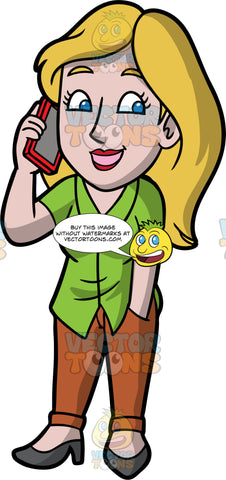 Stacey Chatting With A Friend On The Phone. A woman with dirty blonde hair, wearing brown pants, a green shirt, and dark gray shoes, standing with one hand in her pocket, while the other hand holds her cellphone up to her ear