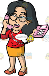 Lynn Talking On A Pink Phone. An Asian woman wearing an orange skirt, a red shirt, brown shoes, and round eyeglasses, standing and speaking with someone on the telephone