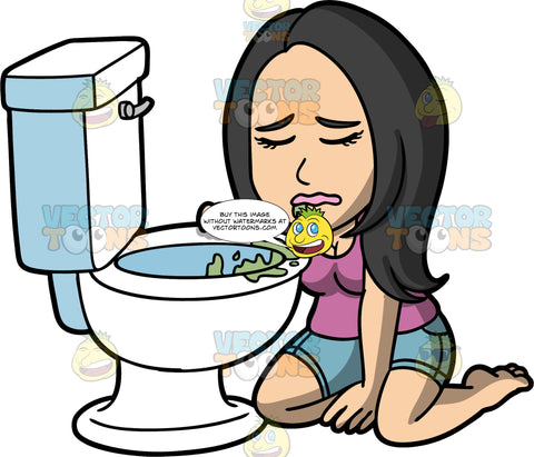 Connie Barfing Into A Toilet. An Asian woman wearing shorts and a purple shirt, kneeling on the floor beside a toilet with vomit in it, her eyes closed and puke coming out of her mouth
