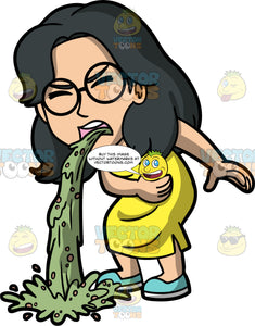Lynn Throwing Up Onto The Ground. An Asian woman wearing a yellow dress, blue shoes, and eyeglasses, puking green liquid all over the ground