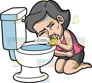 Mary Trying Not To Throw Up In The Toilet. An older woman wearing shorts and a pink shirt, kneeling over of toilet and holding her hand over her mouth as she tries not to vomit