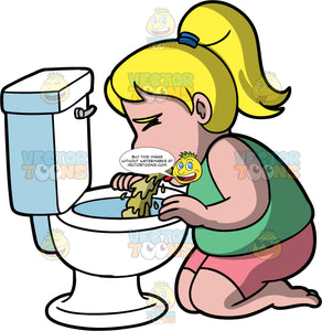 Pat Throwing Up In The Toilet. A blonde woman wearing pink shorts and a green shirt, kneeling on the ground and throwing up in the toilet