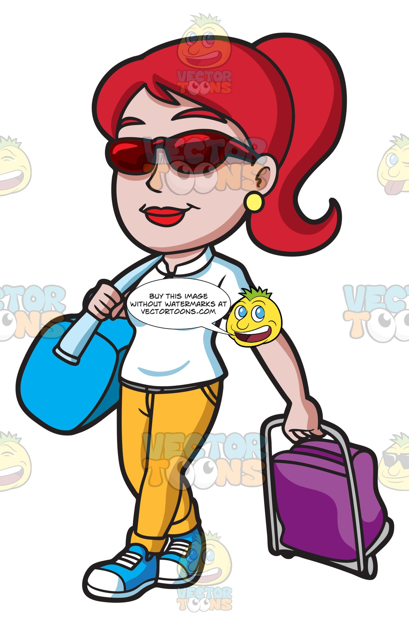 A Woman Traveling For A Vacation – Clipart Cartoons By ...