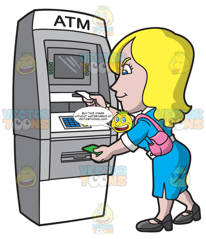 A Woman Getting Her Atm Receipt And Cash