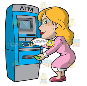 A Woman Getting Cash From The Atm