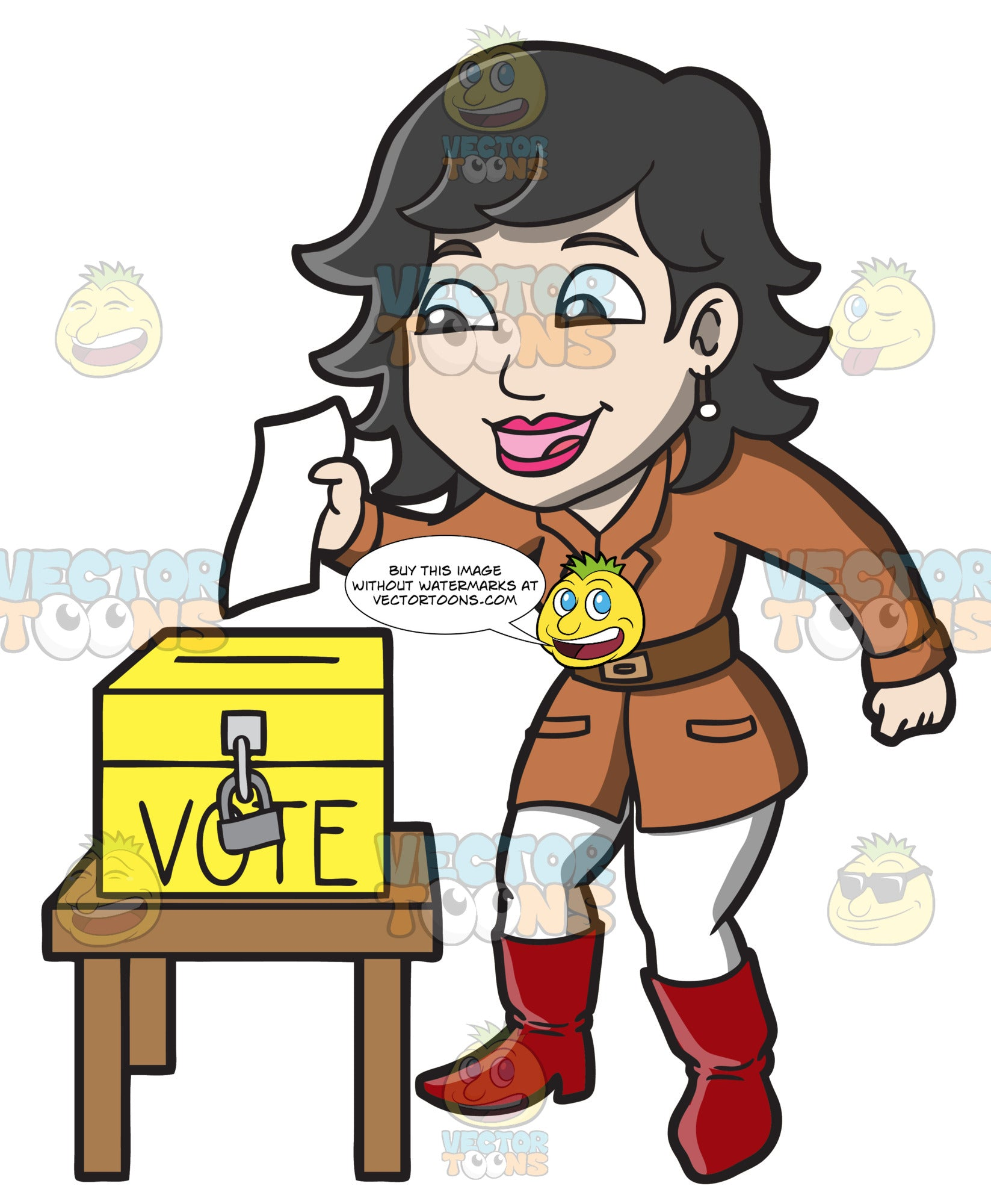 A Happy Woman Dropping Her Ballot In The Ballot Box