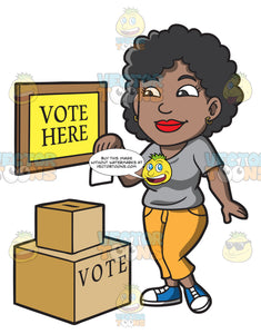 A Black Woman Dropping Her Ballot In The Box