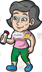 Mary Going On A Long Walk. A mature woman wearing green leggings, a pink t-shirt, and blue running shoes, holding a water bottle while out walking