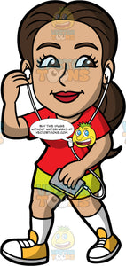 Isabella Listening To Music While Out Walking. A Hispanic woman wearing shorts, a red t-shirt, and yellow walking shoes, holding a cell phone in her hand and listening to music while on a walk
