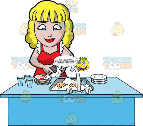 A Blonde Woman Doing The Dishes. A woman with blonde hair and blue eyes, wearing a red dress, standing behind a kitchen sink filled with soapy water and dirty dishes, using a sponge to wash a dirty plate in her hands