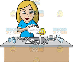 A Woman Cleaning The Dishes After Dinner. A woman with blonde hair and blue eyes, wearing a blue shirt, stands behind a kitchen sink and washes the stack of dirty plates, glasses and cutlery that are on the counter
