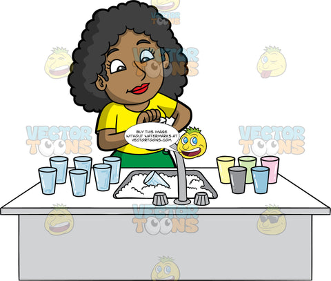 A Black Woman Washing A Pile Of Dirty Glasses. A black woman wearing a green skirt, and a yellow shirt, standing behind a sink filled with soapy water and washing a glass in her hand