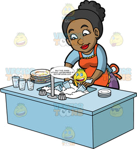 A Black Woman Washing Dirty Dishes. A black woman with her hair tied up in a bun, wearing purple pants, a blue shirt, and an orange apron, washing a stack of dirty plates and glasses piled up in the kitchen sink