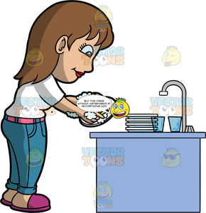 A Woman Doing The Dishes After Dinner. A woman with brown hair and eyes, wearing blue jeans, a white shirt, and purple shoes, standing behind the kitchen sink and washing some dirty plates and glasses