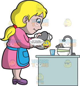 A Mom Washing Dishes. A woman with blonde hair and blue eyes, wearing a pink dress, a blue apron, and purple shoes, washing a bowl with soap and water