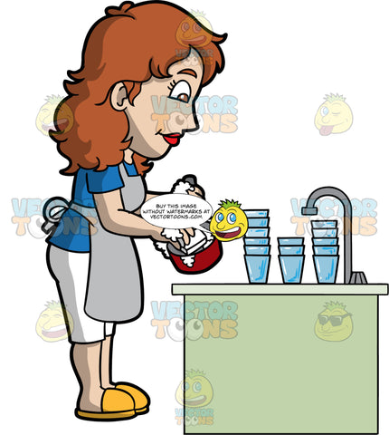 A Woman Washing Up After Dinner. A woman with brown hair and eyes, wearing white capri pants, a blue shirt, gray apron, and yellow shoes, washing a pot and some dirty glasses pile up by the kitchen sink