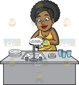 Jackie Washing Some Plates And Glasses. A black woman wearing a yellow tank top, standing and washing some plates and glasses in a sink filled with soapy water