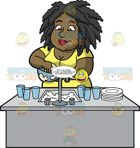 Lisa Washing A Dirty Bowl. A black woman wearing a yellow shirt, standing behind a kitchen sink filled with soapy water and washing some dirty dishes