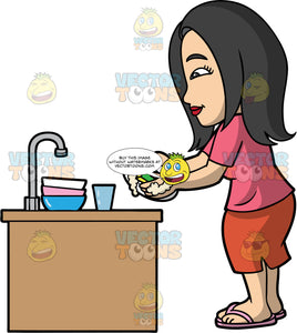 Connie Washing Some Dirty Dishes. An Asian woman wearing a red skirt, a pink shirt, and flip flops, standing and washing a plate with a soapy sponge