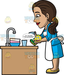 Isabella Washing Up After A Meal. A Hispanic woman with long brown hair, wearing a blue dress, yellow shoes, and a white apron, washing some glasses and bowls in the kitchen sink
