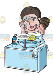 A Woman Washing The Soap Of Her Face