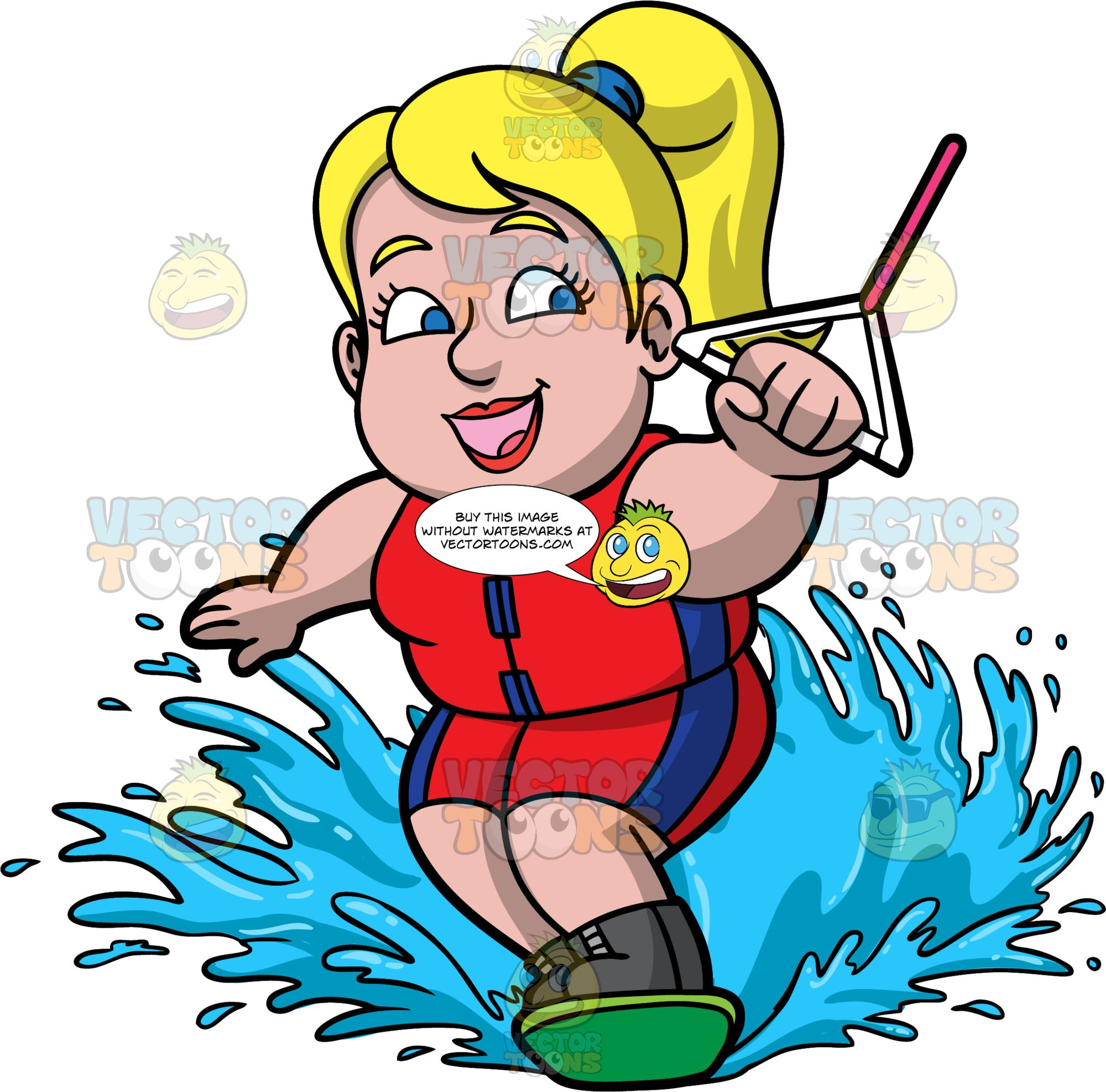 Pat Skiing On One Water Ski. A chubby blonde woman wearing a red and blue wet suit, holding onto a white handle with one hand, as she gets towed behind a boat on one water ski