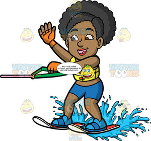 Jackie Waving At Someone While Water Skiing. A black woman wearing blue bathing suit bottoms and a yellow life jacket, holding onto a green handle as she skims along the surface of the water on her skis