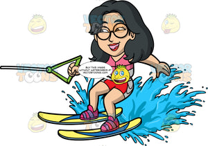 Lynn Having Fun Water Skiing. An Asian woman wearing red and white bathing shorts, and a pink life jacket, holding onto a green handle as she skims along the surface of the water on her yellow and blue water skis