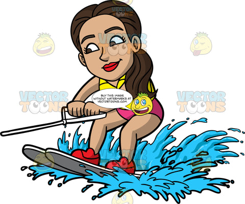 Isabella Learning How To Water Ski. A Hispanic woman wearing a pink bathing suit, and a yellow life jacket, holds onto a white handle as she is lifted out of the water on her water skis