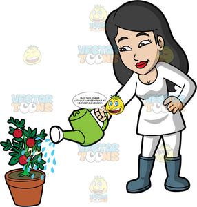 A woman watering a tomato plant. A woman with long black hair, wearing white leggings, a long sleeve white shirts, and gray rubber boots, uses a green watering can to water a tomato plant
