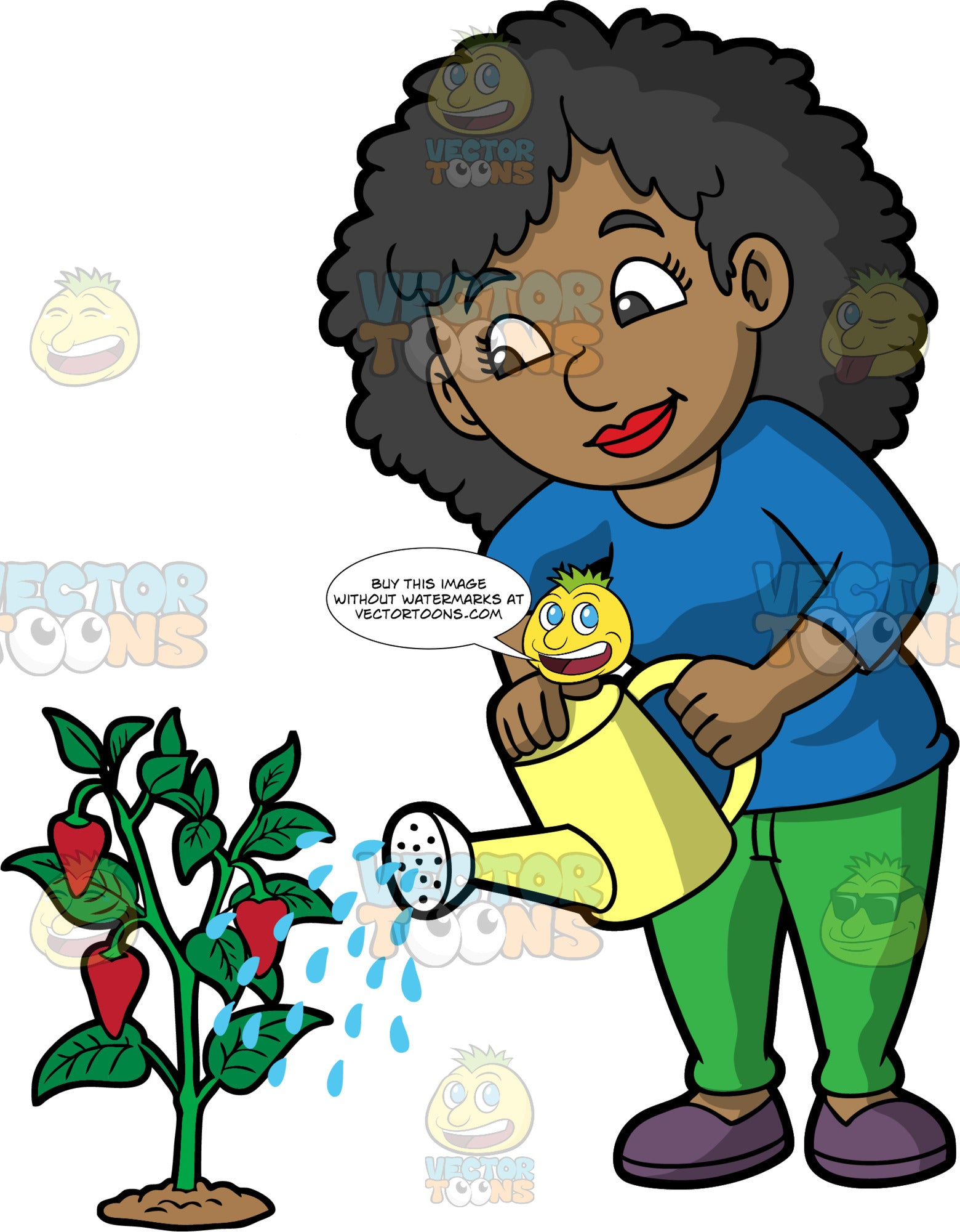 A black woman watering a strawberry plant. A black woman wearing green pants, a long sleeve blue shirts, and purple shoes, uses a yellow watering can to water a strawberry plant