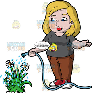 A chubby woman watering some flowers. A chubby woman with dark blonde hair and blue eyes, wearing brown pants, a dark gray t-shirt, and red and white sneakers, uses a hose to water some white flowers