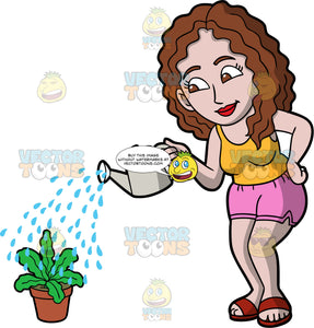 A woman watering a potted plant. A woman with curly brown hair and eyes, wearing pink shorts, a yellow shirt, and red sandals, using a gray watering can to water a leafy green potted plant