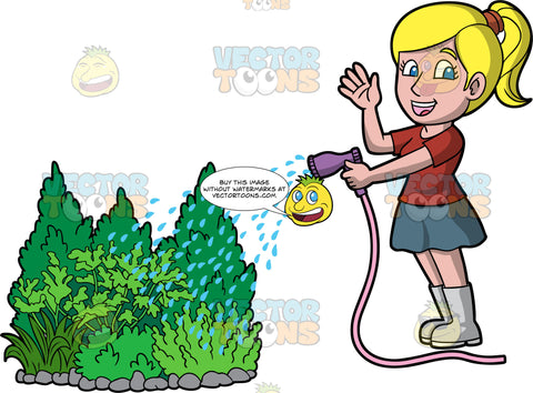 A woman watering some outdoor shrubs. A woman with blonde hair tied up in a ponytail, wearing a gray skirt, brownish red shirt, and gray rubber boots, waving with one hand as she holds a hose in the other and waters some shrubs