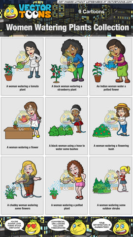 Women Watering Plants Collection