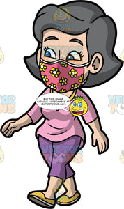 Mary Wearing A Floral Face Mask. A mature woman wearing purple pants, a pink shirt, yellow shoes, a pink face mask with flowers on it, going for a walk