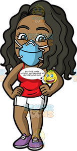 Maggy Wearing A Blue Protective Face Mask. A black woman wearing white shorts, a red tank top, purple shoes, and a blue face mask, standing with her hands on her hips