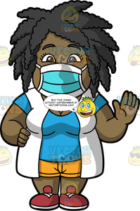 Lisa Wearing A Protective Face Mask. A black woman wearing yellow shorts, a white vest over a blue t-shirt, red shoes, and a blue face mask, standing and waving hello to someone