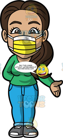Isabella Wearing A Yellow Face Mask. A Hispanic Woman wearing blue pants, a long sleeve green shirt, gray shoes, and a yellow protective face mask, standing with one hand behind her back and the other arm out to the side
