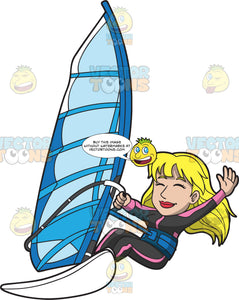 A Happy Windsurfing Woman
