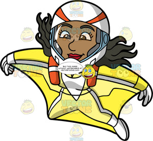 Maggy Having Fun Wingsuit Flying. A black woman wearing a yellow wingsuit, white gloves, white boots, and a white protective helmet, having a great time soaring through the skies while wingsuit flying