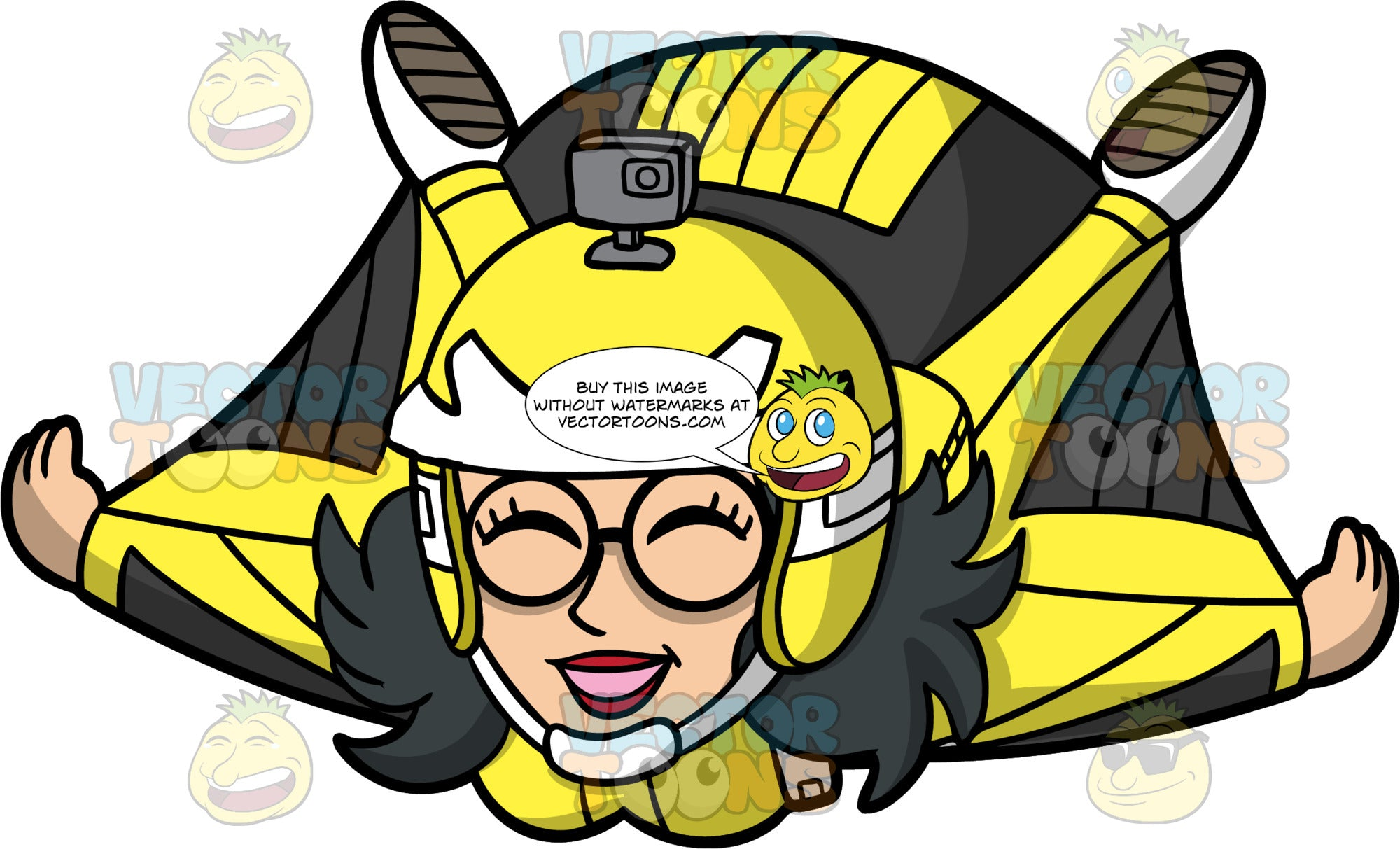 Lynn Enjoying A Wingsuit Flight. An Asian woman wearing a black and yellow wingsuit, a yellow helmet with a camera attached to it, and round eyeglasses, smiles as she flies in her wingsuit