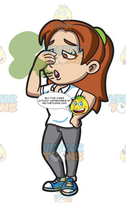 A Woman Pinching Her Nose While Smelling Her Bad Breath