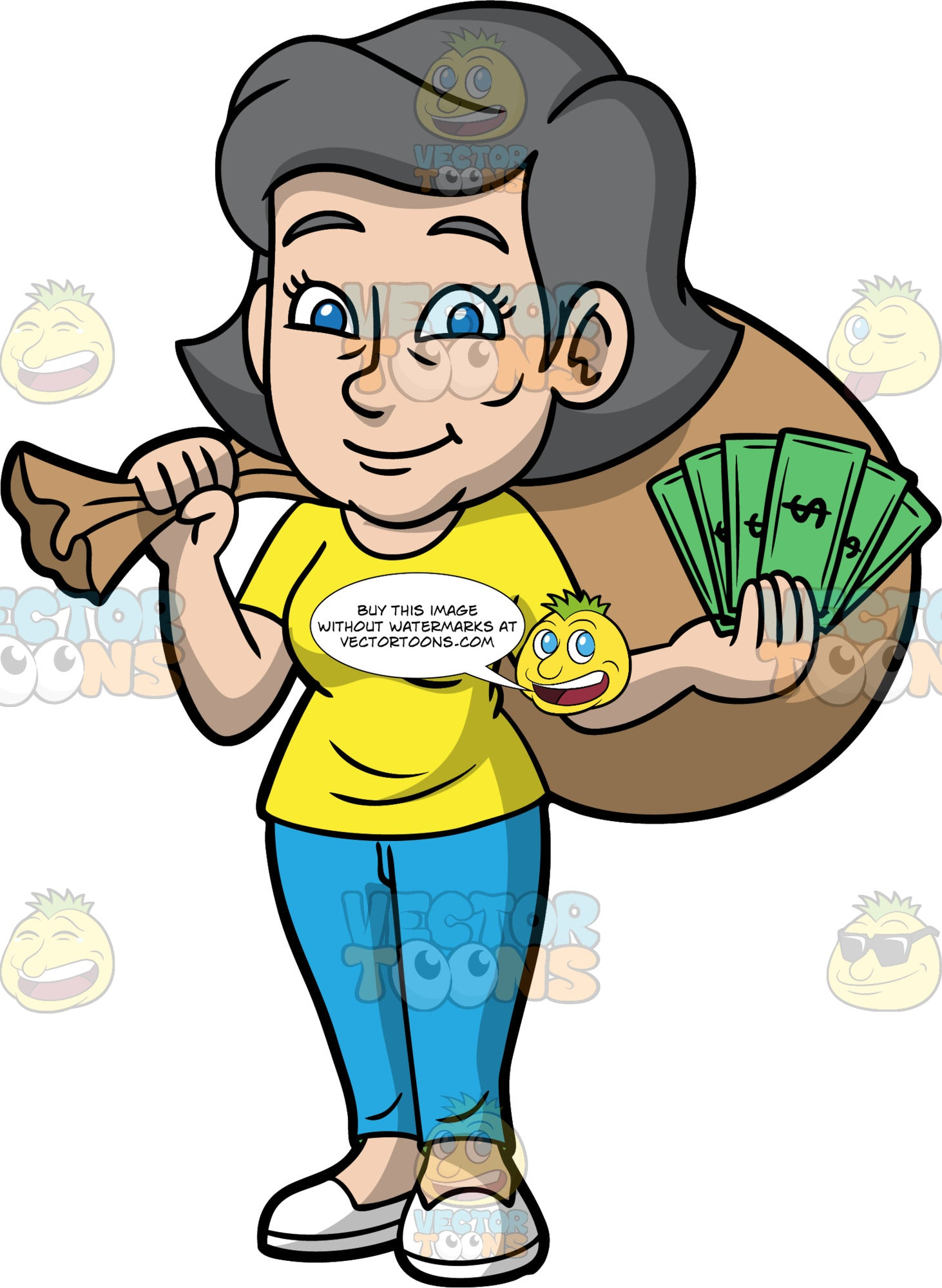 Mary Holding A Sack Of Money Over Her Shoulder. A mature woman wearing blue pants, a yellow t-shirt, and white shoes, holding a brown bag filled with money over her shoulder, and a bunch of dollar bills in her hand