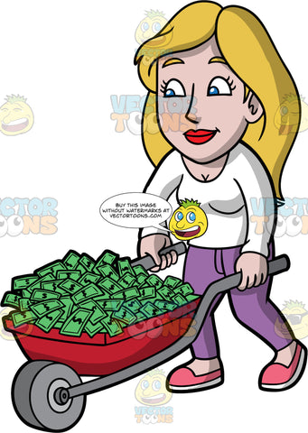 Stacey Pushing A Wheelbarrow Filled With Cash. A woman with dark blonde hair, wearing purple pants, a long sleeve white shirt, and pink shoes, pushing a red wheelbarrow filled with money