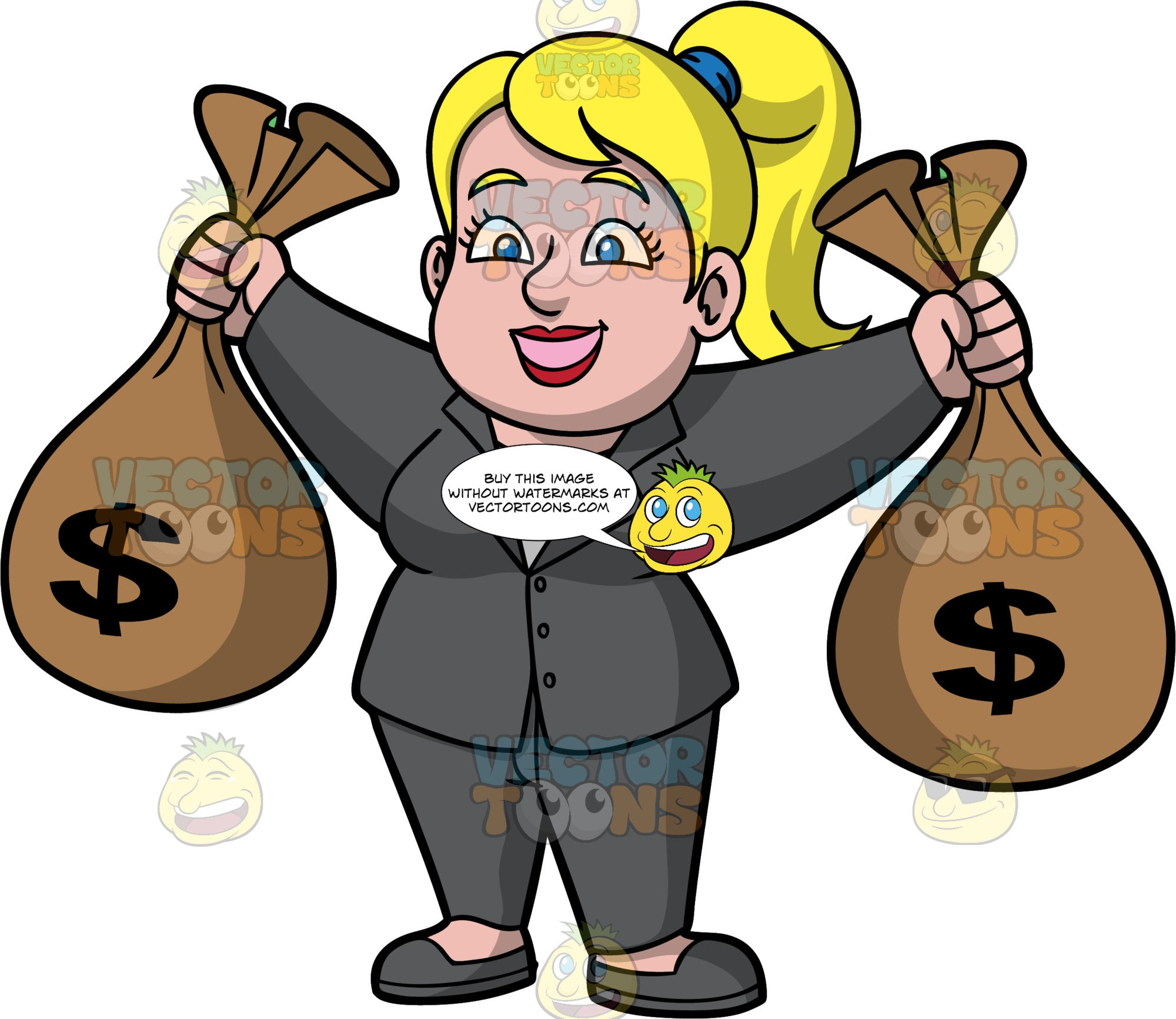 Pat Holding Big Bags Of Money. A blonde woman wearing a dark gray pant suit and gray shoes, standing and holding up a bag of cash in each hand