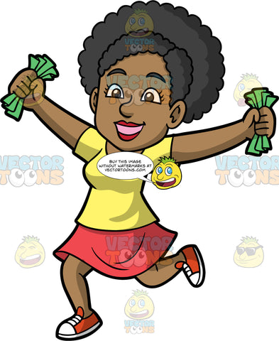 Jackie Holding Fists Full Of Cash. A happy black woman wearing a red skirt, a yellow t-shirt, and red and white sneakers, holding her arms out to the sides and clenching a bunch of cash in her hands